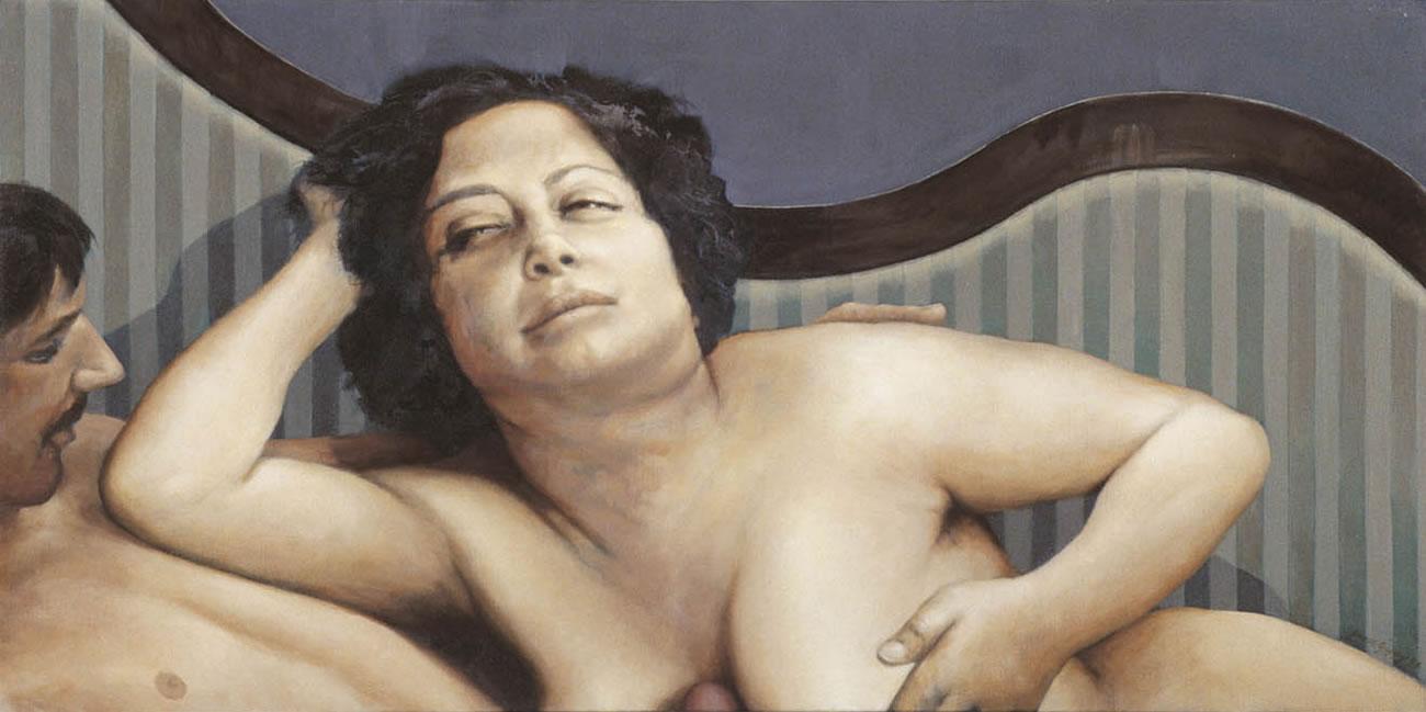 man lying on woman